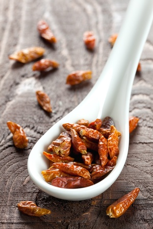 birdeye: dried birdeye chili on white spoon
