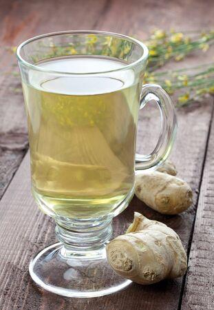 fresh ginger: fresh ginger tea in a glass