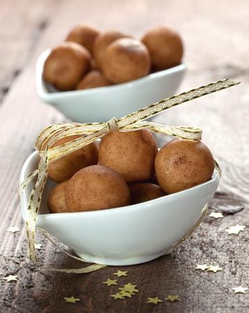 confiserie: marzipan balls in a bowl  Stock Photo