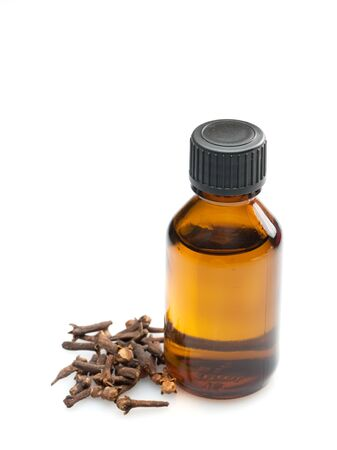clove oil isolated on white background
