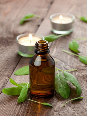 essentials: fresh sage oil with fresh sage  Stock Photo