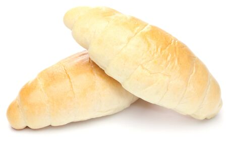 two croissants isolated on white background  photo