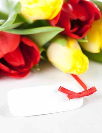 fresh tulips on table with tag (copy space)  Stock Photo - 8683356