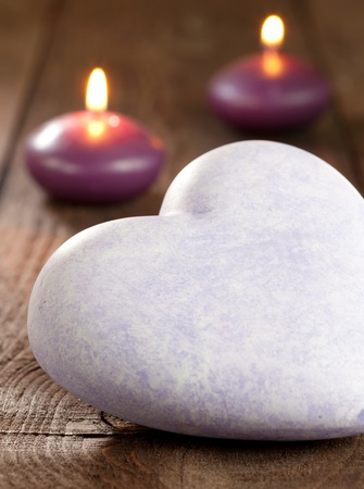 a big heart with candles selective focus Imagens