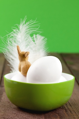 eggs in a bowl with easter rabbit and copy space   photo
