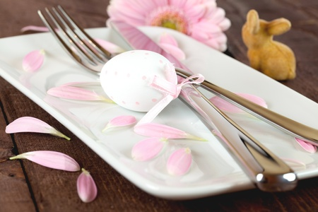 easter place setting with egg and rabbit  photo