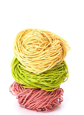 three assorted noodles isolated on white background  photo