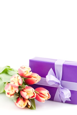 present with tulips and copy space isolated on white background  photo
