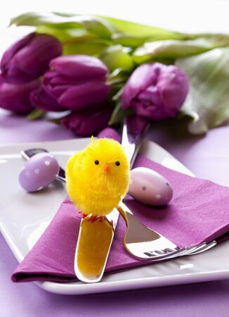easter table setting with biddy and cutlery