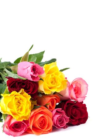 bunch of roses isolated on white with copy space  Stock Photo - 8951546