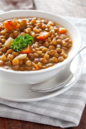 lentils: fresh lentil soup in bowl  Stock Photo