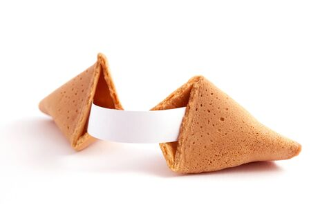 open fortune cookie with label for your text  Stock Photo - 9149559
