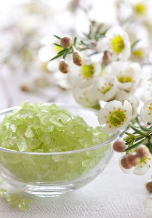 green bath salt and blossom