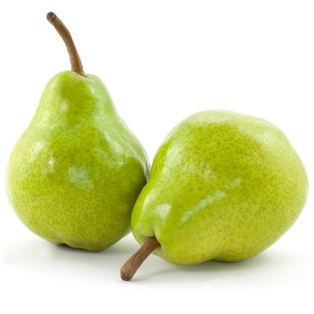 twee peren op een witte achtergrond Stockfoto