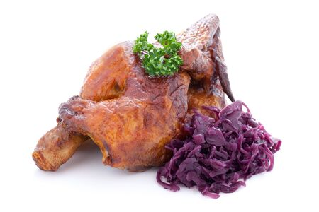 chicken and red cabbage isolated on white background  photo