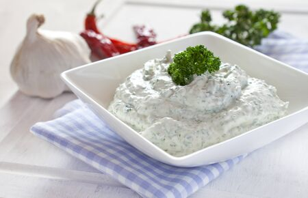 herbage: fresh herb cream cheese in a bowl