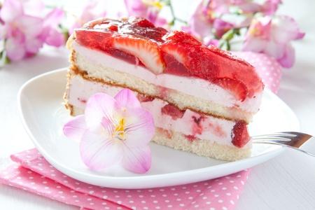 a piece of fresh strawberry cake  Stock Photo - 9407285