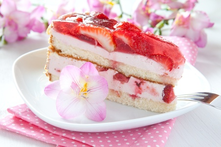 afters: a piece of fresh strawberry cake