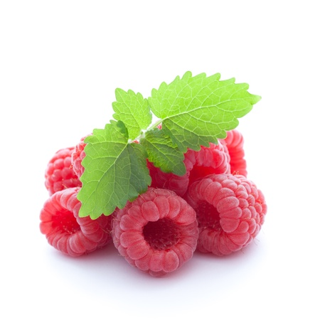 fresh raspberries isolated on white background