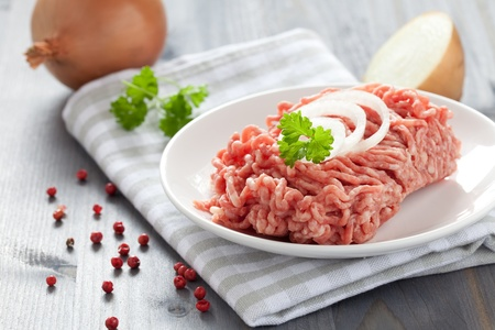 mincemeat: fresh minced meat with onions  Stock Photo
