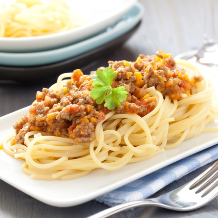 bolognese: fresh spaghetti bolognese on plate  Stock Photo