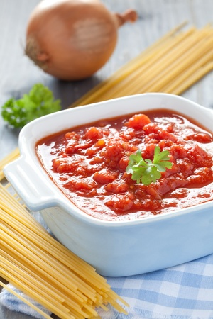 fresh tomato sauce in a pot  photo