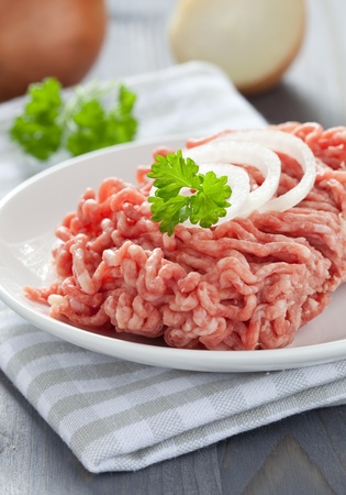 fresh minced meat with onion  photo