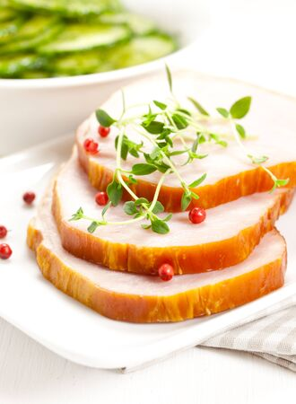 smoked pork slices with herb on plate Stock Photo - 9616384