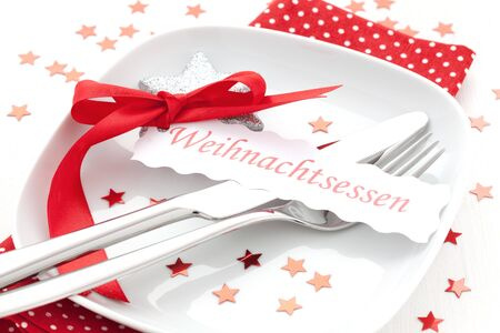 decorated table for christmas dinner Stock Photo - 9616398