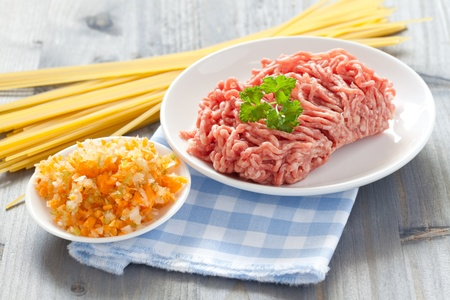 fresh ingredients for bolognese sauce  photo