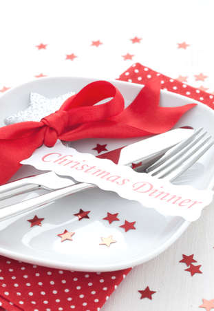 table setting for christmas  photo