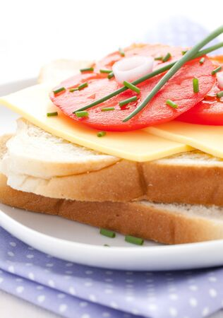 topped: toast topped with cheese and tomato  Stock Photo