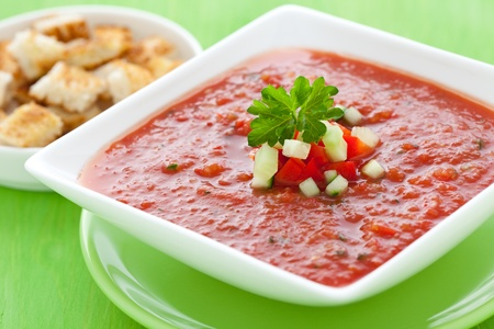 croutons: fresh gazpacho with croutons  Stock Photo