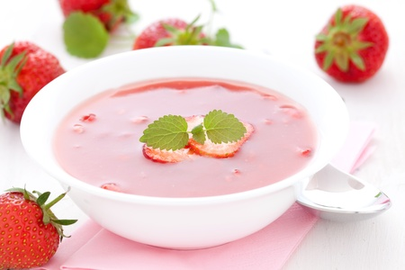 cold soup: fresh strawberry cold sweet soup  Stock Photo