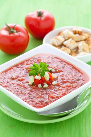 fresh gazpacho with croutons  photo