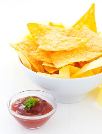 chips and salsa: fresh salsa and nachos