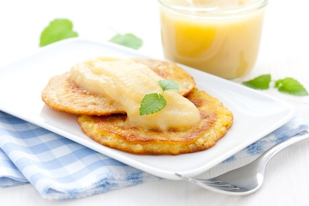 browns: fresh hash browns and apple puree  Stock Photo