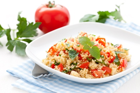 fresh tabbouleh with parsley