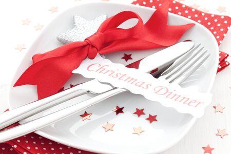 table setting for christmas dinner  photo