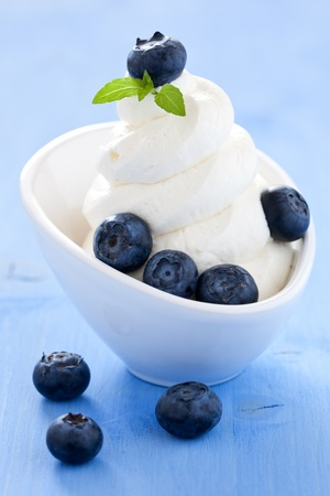 frozen fruit: ice cream with blueberries and mint  Stock Photo