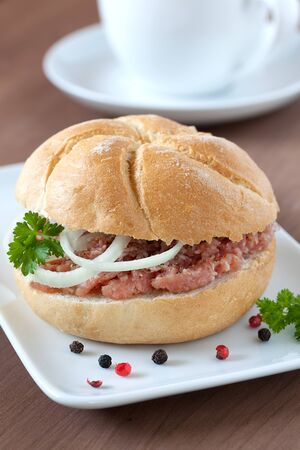 bap: fresh bap with minced meat and onion
