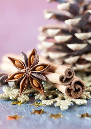 star anise: fresh christmas spices anise and cinnamon  Stock Photo