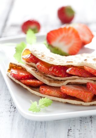 crepe: fresh crepe filled with strawberries