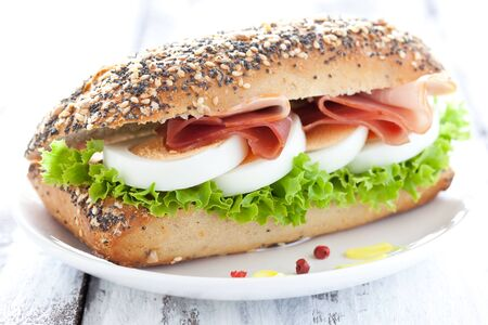 bap: baguette with egg and ham