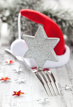 christmas dish: invitation for christmas dinner with decoration