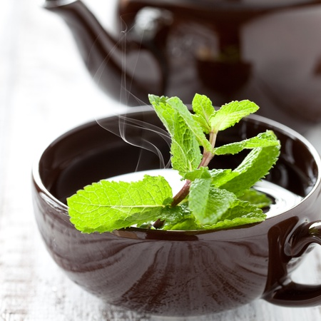fresh peppermint tea in a cup
