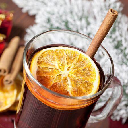 mulled: fresh mulled wine with orange  Stock Photo