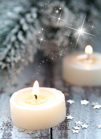 combustion de bougies et décoration  Banque d'images