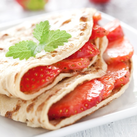 fresh crepe with strawberries