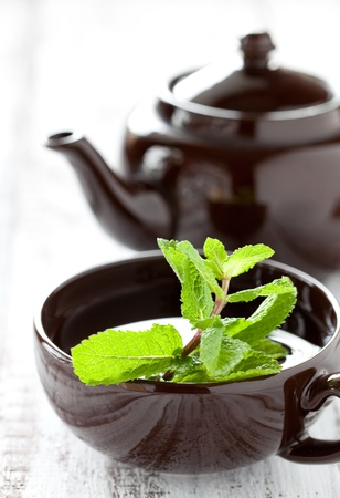 mint tea: peppermint tea with peppermint leaves  Stock Photo